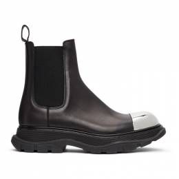 Alexander McQueen Black and Silver Tread Slick Chelsea Boots 634614WHXHF