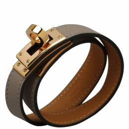 Hermes Grey Leather Kelly Double Tour Bracelet 366354