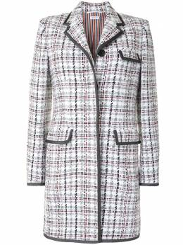 Thom Browne check-pattern mid-length coat FOC300B06332