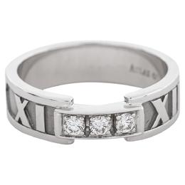 Tiffany & Co. Atlas Diamond 18K White Gold Ring Size 54 377352