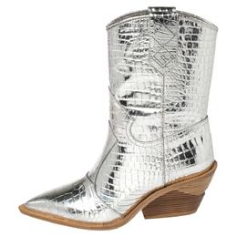 Fendi Silver Croc Embossed Leather Cutwalk Cowboy Boots Size 38 377779