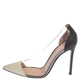Gianvito Rossi White/Black Pvc And Glitter Plexi Pumps Size 37.5 377493