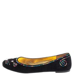 Marc By Marc Jacobs Black Suede Crystal Embellshed Ballet Flats Size 40.5 377395