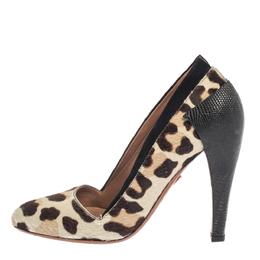 Alaia Paris White Leopard Print Pony Hair Pumps Size 37 377735