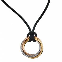 Cartier Trinity Black Cord 18K Three Tone Gold Pendant Necklace 377034