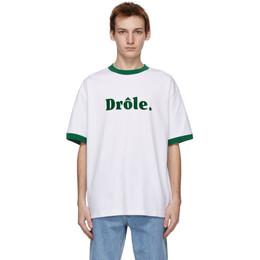 Drole De Monsieur White Ribbed Drole T-Shirt SS21-TS001-WT