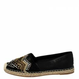 Le Silla Black Leather And Suede Embellished Espadrille Flats size 41 377756