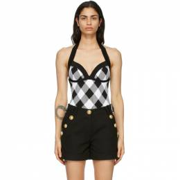 Balmain Black and White Gingham Bodysuit VF10898K214