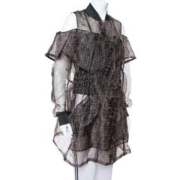 Fendi Black & Brown Organza Zucca Monogram Sheer Cold Shoulder Jacket M 377547
