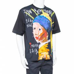 Neil Barrett Black Girl With The Pearl Earring Printed Cotton Crewneck T-Shirt L 378050