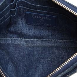 Chanel Blue Denim CC Timeless Wallet 369946