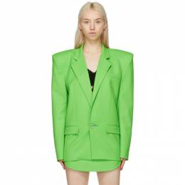 The Attico Green Exaggerated Shoulder Blazer 211WCG09 - W009 - 017