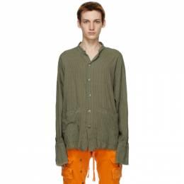 Greg Lauren Khaki Striped Boxy Studio Shirt AM249