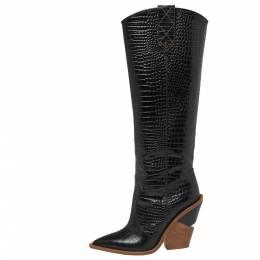 Fendi Black Croc Embossed Leather Cowboy Boots Size 39 377227
