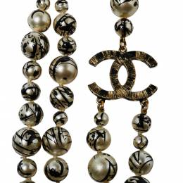 Chanel CC Paint Splatter Faux Pearl Gold Tone Layered Necklace 376950
