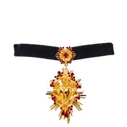 Dolce&Gabbana Black Velvet Band Crystal Heart Pendant Choker 378125