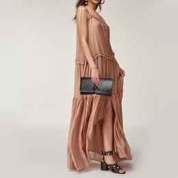 Yves Saint Laurent Dark Brown Patent Leather Belle de Jour Flap Clutch 378243
