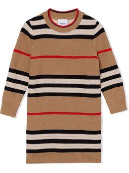 Burberry Kids трикотажное платье Icon Stripe 8031812