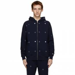 Billionaire Boys Club Navy Heart and Mind Monogram Zip-Up Hoodie B20451