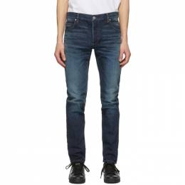 Balmain Blue Tapered Raw Vintage Jeans VH1MH000005D