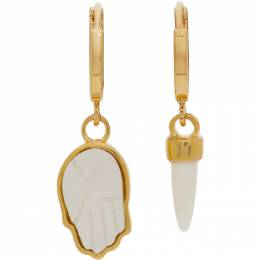 Isabel Marant Gold and Off-White Bone Mismatched Earrings 21PBL0523-21P023B