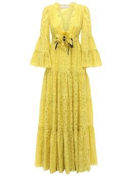 Платье Из Смешанного Хлопка С Вышивкой Elie Saab 73IB4T013-WUVMTE9X0