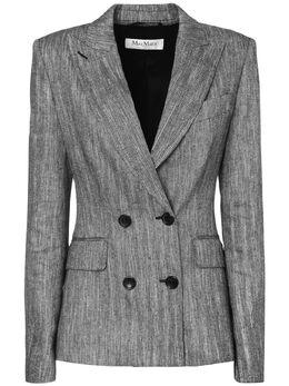Двубортный Пиджак Из Льна И Шелка Max Mara 73I50P028-MDAx0