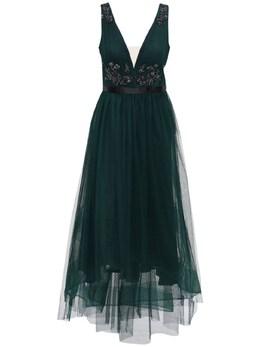 Платье Из Тюля Со Стразами Marchesa Notte 72IWVN001-RU1FUkFMRA2
