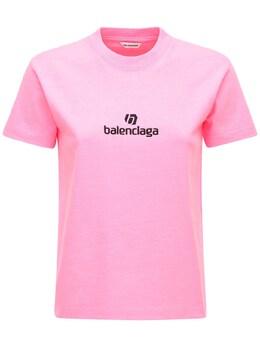 Футболка Из Хлопка Джерси Balenciaga 72I5CI047-NTc2NA2