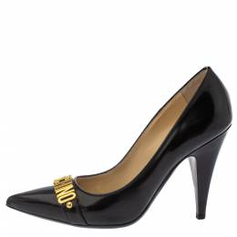 Moschino Black Leather Pointed Toe Pumps Size 40 Boutique Moschino 380156