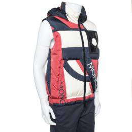 Moncler Tricolor Synthetic Down Filled Sleeveless Hooded Puffer Gilet S 378238