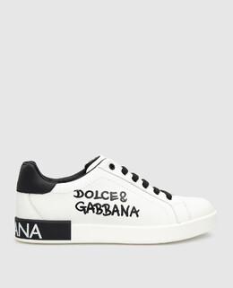 Детские белые кожаные сникеры Dolce&Gabbana 2300006545047