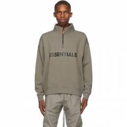 Essentials Taupe Half-Zip Mock Neck Sweatshirt 192HO202043F