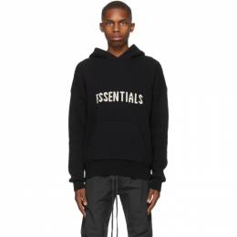 Essentials Black Knit Logo Hoodie 192HO202050F