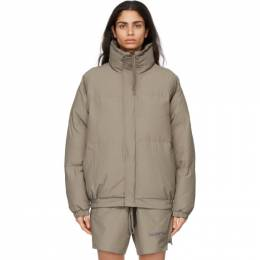 Essentials Khaki Nylon Puffer Jacket 202HO202016F
