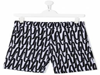 Neil Barrett Kids спортивные шорты с абстрактным принтом 027907