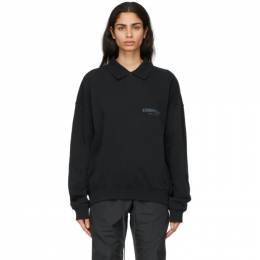 Essentials Black Logo Long Sleeve Polo 192HO202070F