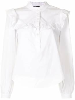 Veronica Beard ruffled details henley shirt J2012SR0140867