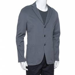 Armani Collezioni Grey Pique Knit Three Button Blazer L 379482