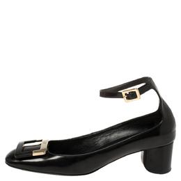 Roger Vivier Black Leather Buckle Detail Ankle Strap Pumps Size 38.5 380084