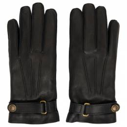Gucci Black Leather Gloves 475379 4SA04