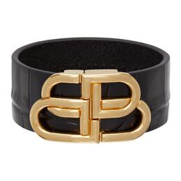 Balenciaga Black Croc Large BB Bracelet 596175 1LRIM