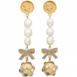 Erdem Gold and Blue Crystal Ball Drop Earrings PS21_1378BLCGPR