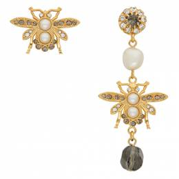 Erdem Gold and Grey Crystal Bee Earrings PS21_1379GCGPR