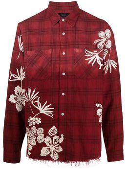 Amiri клетчатая рубашка с цветочным принтом MSL010
