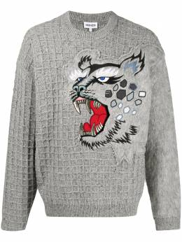Kenzo embroidered tiger grid jumper FB55PU5423AE