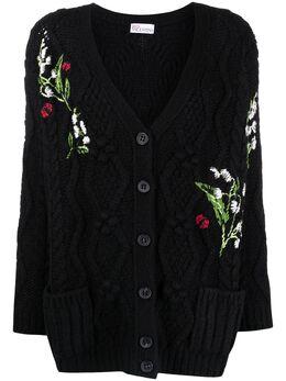 Red Valentino flower-detail intarsia-knit cardigan VR3KA01G5N4