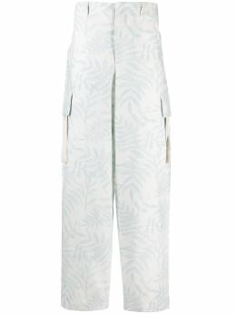Jacquemus leaf print cargo trousers 215PA04215109143