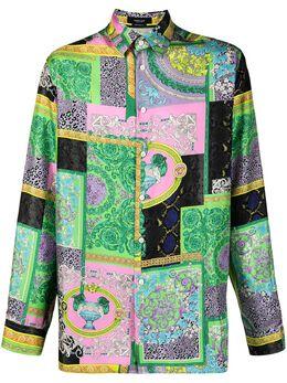 Versace Collection рубашка с принтом в технике пэвчорк A84050IF00537