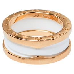 Bvlgari B.Zero1 Ceramic 18K Rose Gold Two Band Ring Size 50 380451